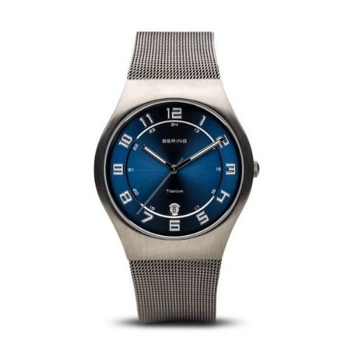 Titanium Blue Mens Mesh Bracelet | Bering Watch | 11937-078